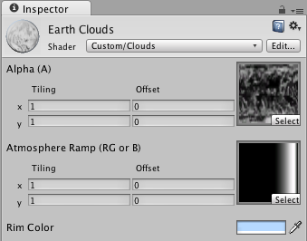 Material inspector for the new ramp texture atmosphere and clouds shader.