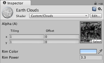 Material inspector for the Clouds shader